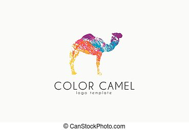 Camel logo. Color camel logo design. Animal logo. Creative logo