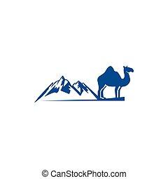 camel logo design template,vintage camel vector illustration, Desert logo design  silhouette of a camel.
