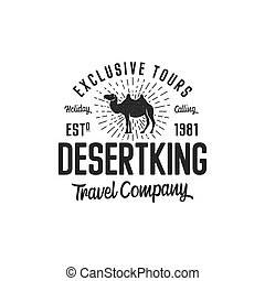 Camel logo template concept. Travel company logotype. Desert king text quote. Exclusive tours vacation business emblem. Stock vector badge, logo mark isolated on white background