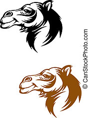 Camel mascot - Camel head in cartoon style for mascot or...