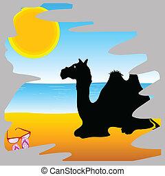 camel on the paradise beach vector illustration