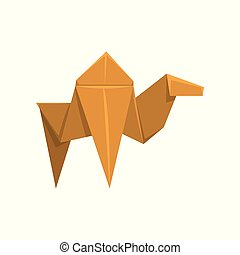 Camel origami paper animal vector Illustration on a white background