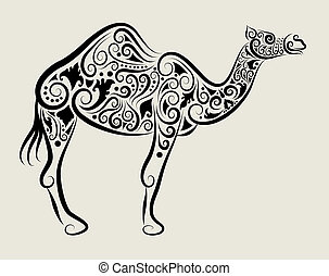 Camel ornament vector - Camel drawing with curl ornament...