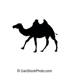 Camel outline vector icon, isolated on transparent background, concept illustration black silhouette