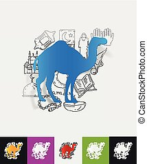 camel paper sticker with hand drawn elements