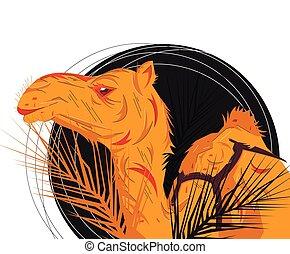 Camel portrait Vector Flat illustration.
