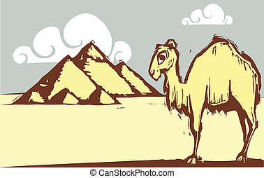 Camel Pyramid - Single hump camel in woodcut style by...