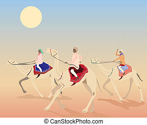 camel race - an illustration of three camels with riders...