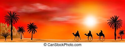 Camel riders on sunset background