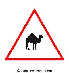 Camel road sign design warning vector illustration