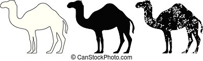 Camel set black white grunge