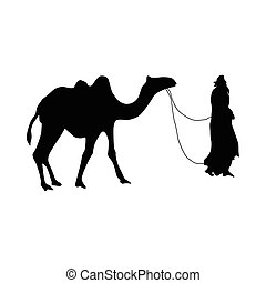 Camel silhouette black isolated on white background