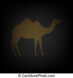 Camel silhouette sign. Icon as grid of small orange light bulb in darkness. Illustration.