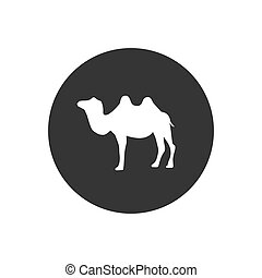 Camel silhouette white icon vector illustration isolated on white background