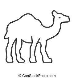 Camel thin line icon, worldwildlife concept, camel vector sign on white background, camel outline style for mobile concept and web design. Vector graphics.