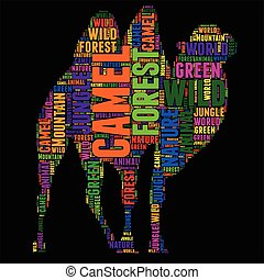 camel Typography word cloud colorful Vector illustration