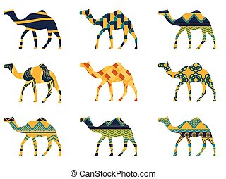 Camel with a pattern. Set of vector illustrations.