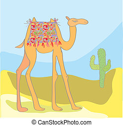 Camel with cactus in the desert cartoon