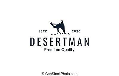 Camel with man silhouette logo vector  illustration design