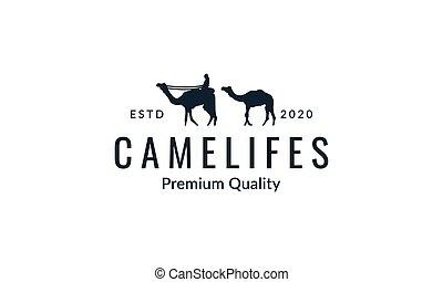 Camel with man walking silhouette logo vector  illustration design