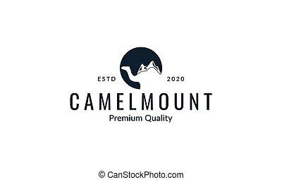 Camel with mountain silhouette logo vector  illustration design