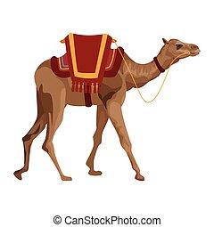 camel with saddlery icon cartoon