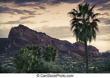 Camelback Mountain, valley canyon resort destination area, Scottsdale Phoenix, AZ,USA