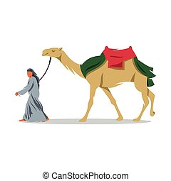 Cameleer. Vector Illustration. - Bedouin and camel on a...