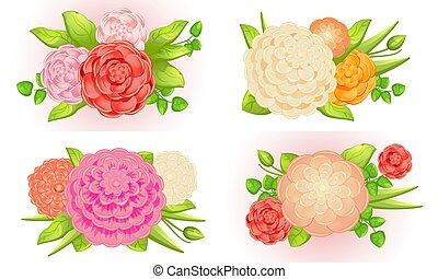 Camellia banner set, cartoon style