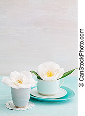 Camellia flowers - Camellia flower blossoms in turquoise ...