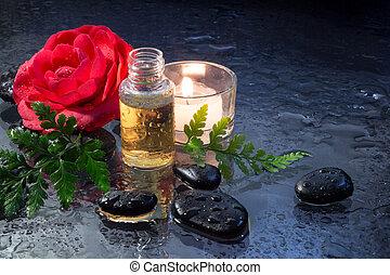 camellia oil, black stones, fern
