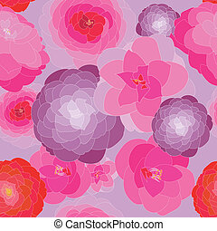 Camellia pattern - Pattern vector background of pink and red...
