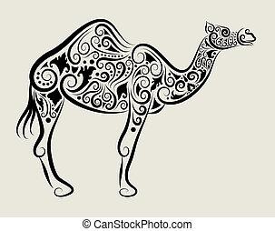 camello, ornamento, vector