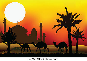 camello, viaje, con, mezquita, plano de fondo