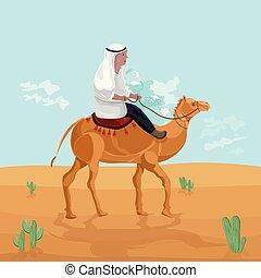 camelo, egito, viagem, personagem, deserto, vector., ilustrações, montando, caricatura, cartão, homem