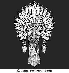 Camelopard, giraffe Traditional ethnic indian boho headdress...