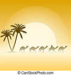 Camels and Palms - Palm trees and camel caravan illustration...