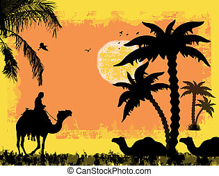 Camels on the desert against a grunge background, vector...