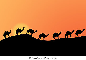 Silhouettes of a caravan of camels in the desert against a sunset sky