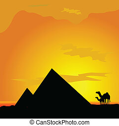camels with pyramide in desert illustration - camels with...