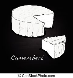 camembert cheese isolated illustration set - Macro of white...