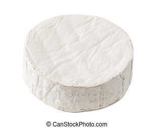 Camembert Cheese isolated on white background, top view.