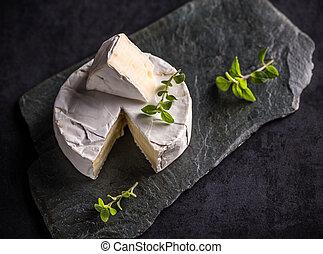 Camembert cheese on dark slate background