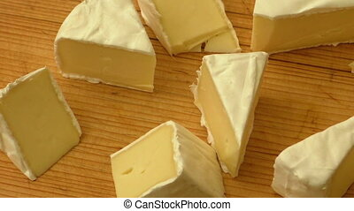 Camembert cheese tasting sliced