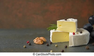 Camembert with grapes - Cheese camembert or brie with...