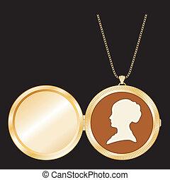 Cameo, Antique Gold Locket, Chain - Engraved gold keepsake...