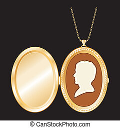 Cameo, Antique Gold Locket, Chain - Engraved oval gold...