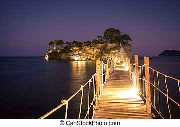 Cameo island at night. Hanging bridge to the island at night, Zakhynthos in Greece.