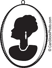 Cameo matron - Cameo of an older woman's profile heavily...