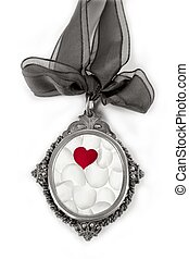 Cameo silver locket with petals valentines heart